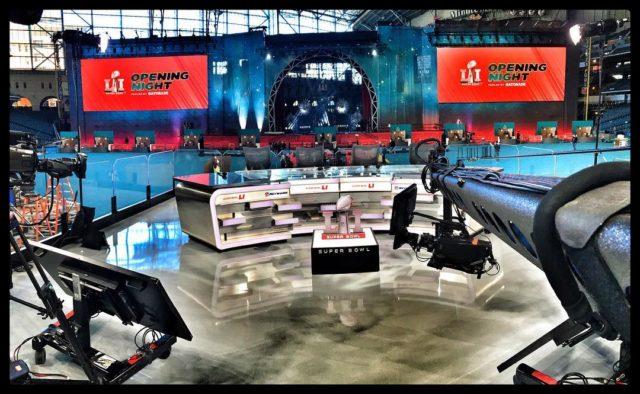 Rehearsing #SBOpeningNight for tomorrow on NFL Network. #jiboperator #jib #jimmyjib #cameracrane