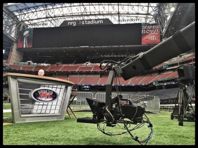 "Shooting ""Inside The NFL"" at #superbowl51 for Showtime and NFL Films - #jiboperator #jimmyjib #cameracrane #jibcamera #setlife #sb51"
