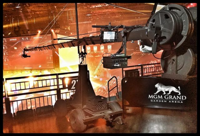 Our 40ft #jimmyjib #cameracrane at the #mgmgrand in #lasvegas for #dreamhack2017 - #jiboperator #setlife